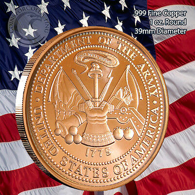 US Army Copper Round 1 oz .999 Copper Coin