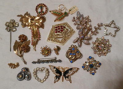 Lot of 18 Vintage Rhinestone Pins Brooches Star Made in Austria