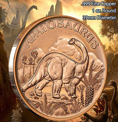 Apatosaurus Dinosaur Round 1 oz .999 Copper Round Part of 8 Series