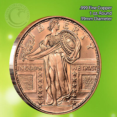 Standing Liberty 1 oz .999 Copper Round