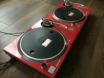 2 x Technics SL-1200MK2 Turntable/Decks - With Candy Red Custom Covers