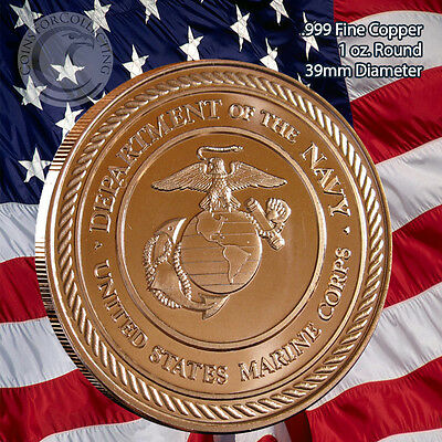 US Marine Corps Copper Round 1 oz .999 Copper Round