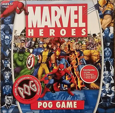 MARVEL HEROES POG GAME 2 Players Ages 5+ (2006) Global POG 100% Authentic -EUC