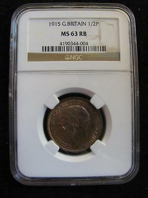 Great Britain 1915 Copper 1/2 Penny NGC MS63 RB (484) Free Shipping!