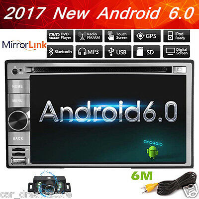 Pure Android 6.0 Car Stereo Radio Double 2 DIN 3G WIFI GPS DVD Player 6.2'' Inch