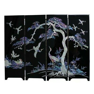 Four Gracious Plants folding screen room divider  Mother-of Pearl Lacquer #11