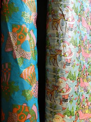 Lot of 2 Vintage Christmas Wrapping Paper Rolls Santa Jingle Bells