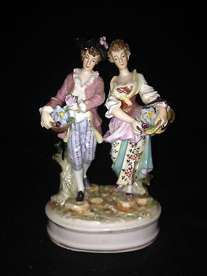 "Early 4 1/2"" German Volkstedt Man & Woman Figure"