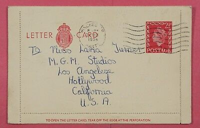 1956 Gb Letter Card Stationery Fan Mail To Actress Lana Turner To Usa