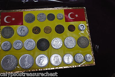 TURKISH TURKEY COIN SET - 25 COINS ON FRAME, 1940s TO 1980s - COMBINED POST