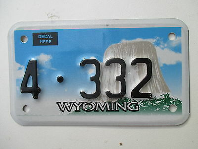 c2000 Wyoming graphic motorcycle Sweetwater County 4 license plate
