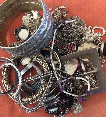 Silver Tone Jewelry 1 LB LOT: Necklaces, Earrings, Etc. Craft Repurpose #20