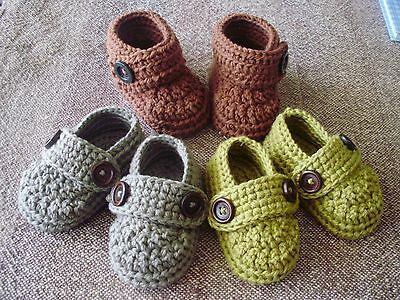 Crochet baby Boot and Loafer made from 100% organic cotton