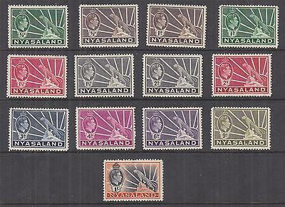 NYASALAND PROTECTORATE, 1938-1944 KGVI set of 13 to 1s., lhm./heavy hinged mint