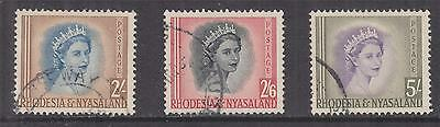 RHODESIA & NYASALAND, 1954 QE 2s., 2s.6 & 5s., used.