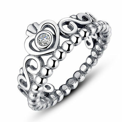 925 Sterling Silver Vintage My Princess Queen Crown Ring - Choose a Size