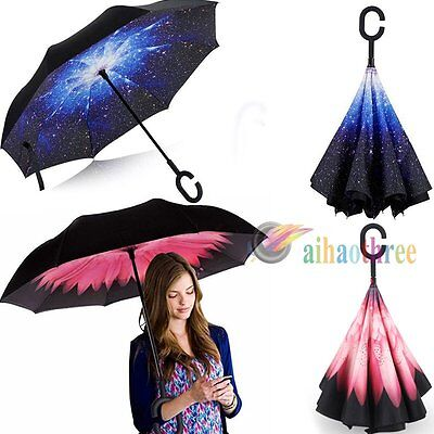 Windproof C-Handle Double Layer Upside Down Inside Inverted Reverse Umbrella【AU】