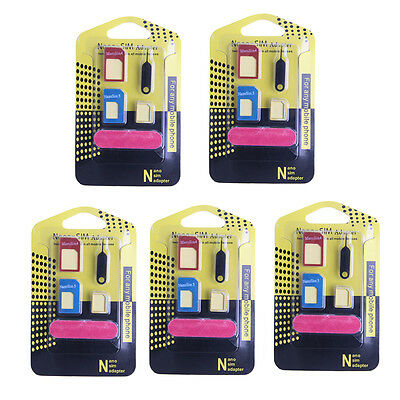 5pcs 5 in 1 Nano SIM Card to Micro Standard Adapter Converter For iPhone Samsung