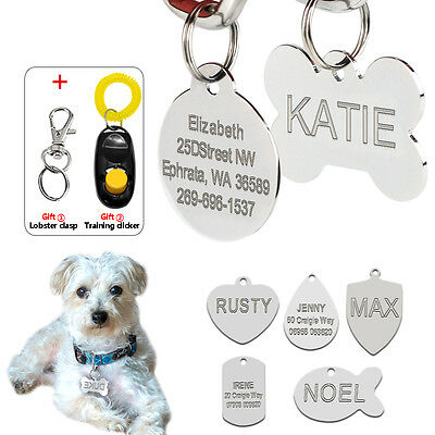 Engraved Personalised Dog Tags Custom Cat Name ID Tag for Pets Stainless Steel