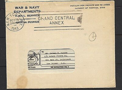 1943 US War and Navy Departments Envelope with Contents to New Jersey