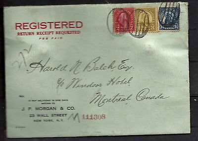 US 1928 Finance Pouch Registered Cover To Canada