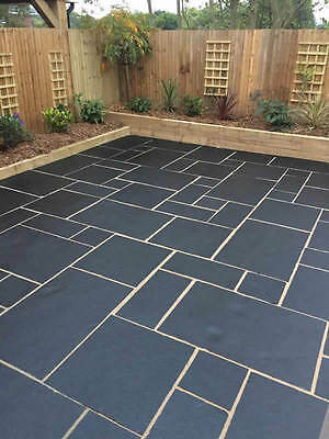 Tumbled Black Smooth Indian Limestone 15.30m2 Patio Pack Paving stone Marshalls