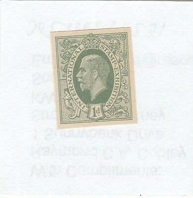 046 - 1912 1d. Bright green 'ideal stamp' on heavy paper, imperforate