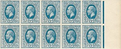 040 - 1912 1d. Light blue 'ideal stamp', block of 10 imperforate from rhs sheet