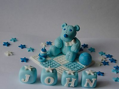 Edible Teddy With Blanket Cake Topper Decoration Christening Boy Name