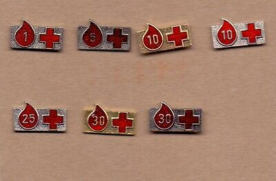 Pins - Red Cross Blood Donors Blood Donoring - 7 Pins - Yugoslavian Edition