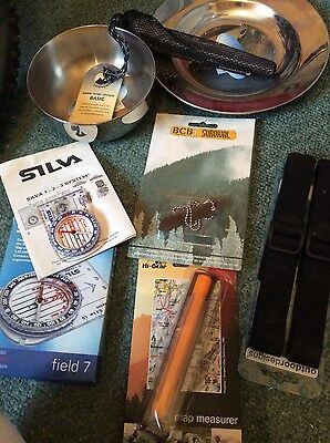 camping outdoor kit compass map measure bowl plate etc