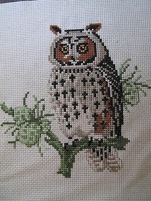 Embroidered Owl Picture completed cross stitch panel