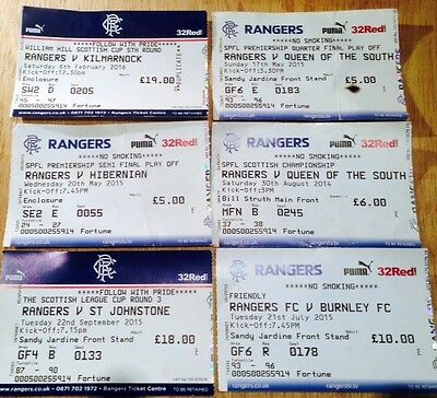 Six Rangers Ticket Stubs -Varying condition please see photo