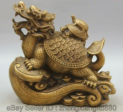 "8"" China Copper Ru Yi Wealth Dragon tortoise Turtle tortoise Statue Sculpture F"