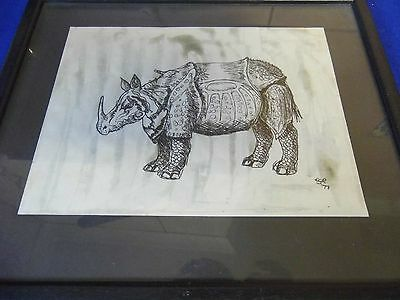 Signed print of a rhino sketch very attractive
