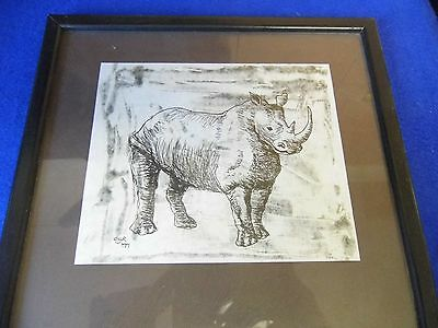 Signed print of a rhino sketch