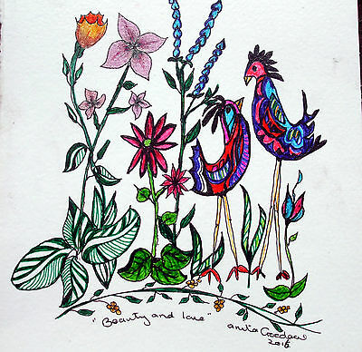 "Drawing Ink,Birds, flower Original by Anita Folk Art ""Beauty and Love """
