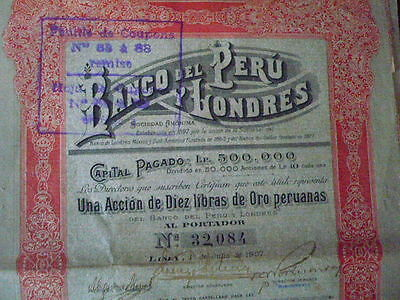 PERU :  : SHARE  BANCO DEL PERU Y LONDRES  1907   With coupons
