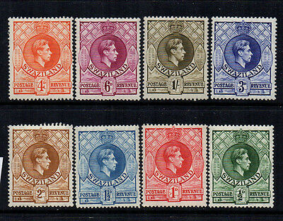 Swaziland 1938/54 KGVI to 1/- (8) - Perf 13½ by 14 - SG 28a/35a - LMM