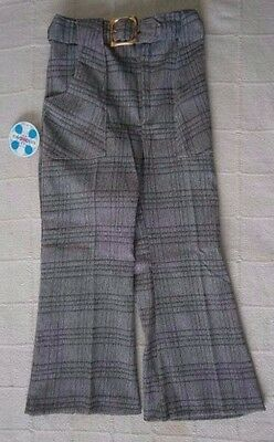 Vintage BoysTailored Flared Trousers - Age 8 -Grey Check- Belt - New