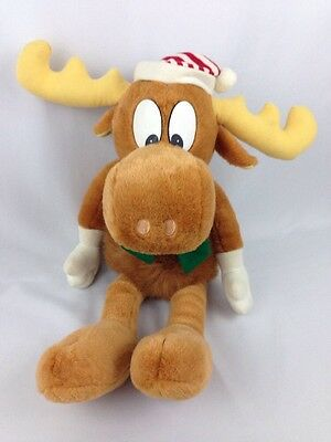 "Bullwinkle Moose Lover Stuffed Animal 24"" Large Plush 1996 Christmas Scarf"
