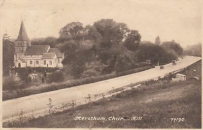 Merstham Church Hill, Surrey, old postcard, posted 1948