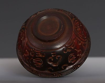 Very Rare Old Chinese Ox Horn Carving Cup Private Collection Ed127