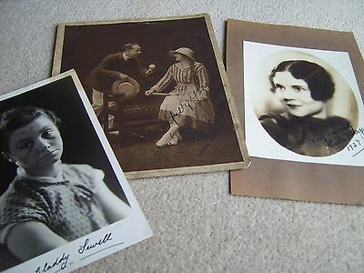 3 1920's Actress & Music Hall etc HAND SIGNED photographs