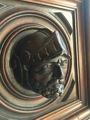 Gorgeous French Antique Carved Architectural Panel Door Walnut Wood Knight