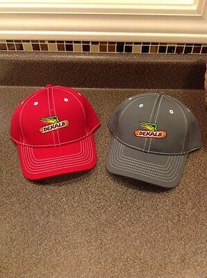 Dekalb Seed Corn Hats Lot Of 2 Red And Gray Winged Corn Ear New Head
