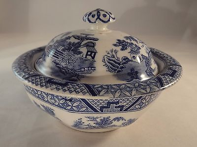 Vintage Booths Georgian Shape Willow Blue & White Soap Dish Lid & Drainer 1930