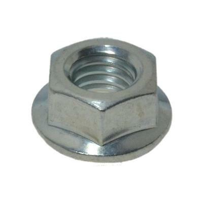 """Hex Serrated Flange Nut 1/4"""" UNC Imperial Coarse BSW Steel Grade 5 Zinc Plated"""