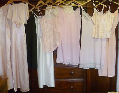 Vintage Job Lot Of 11 Full Slips Half Slips Nighties + Negligee Sz M 12-14
