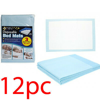 Set Of 12 Disposable Incontinence Bed Pads 60 X 90Cm Sleep 1200Ml Absorption Aid